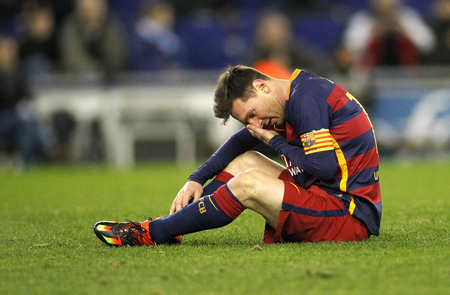 futbol: Leo Messi of FC Barcelona during a Spanish Kings Cup match against RCD Espanyol at the Power8 stadium on January 13, 2016 in Barcelona, Spain Editorial