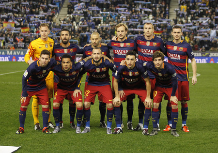 sergio: FC Barcelona lineup before a Spanish Kings Cup match against RCD Espanyol at the Power8 stadium on January 13, 2016 in Barcelona, Spain