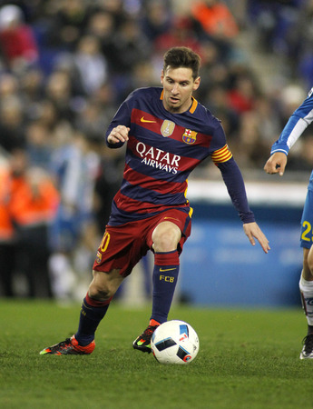mesi: Leo Messi of FC Barcelona during a Spanish Kings Cup match against RCD Espanyol at the Power8 stadium on January 13, 2016 in Barcelona, Spain Editorial