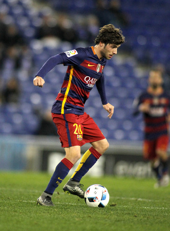 Sergi Roberto of FC Barcelona during a Spanish Kings Cup match against RCD Espanyol at the Power8 stadium on January 13, 2016 in Barcelona, Spain Editorial