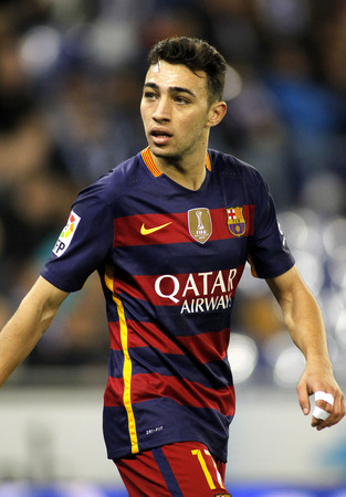 Munir El Haddadi of FC Barcelona durin a Spanish Kings Cup match against RCD Espanyol at the Power8 stadium on January 13, 2016 in Barcelona, Spain Editorial