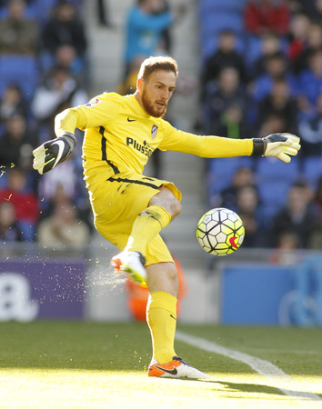 Jan Oblak of Atletico Madrid during a Spanish League match against RCD Espanyol at the Power8 stadium on April 9, 2016 in Barcelona, Spain Editorial