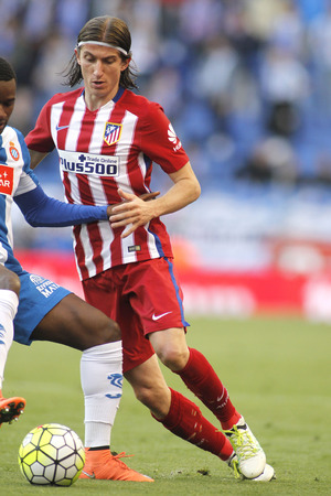 Filipe Luis Kasmirski of Atletico Madrid during a Spanish League match against RCD Espanyol at the Power8 stadium on April 9, 2016 in Barcelona, Spain