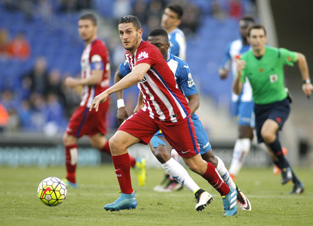 Koke Resurreccion of Atletico Madrid during a Spanish League match against RCD Espanyol at the Power8 stadium on April 9, 2016 in Barcelona, Spain