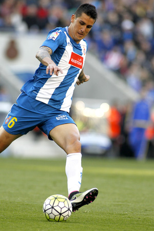 enzo: Enzo Roco of RCD Espanyol during a Spanish League match against Atletico de Madrid at the Power8 stadium on April 9, 2016 in Barcelona, Spain Editorial