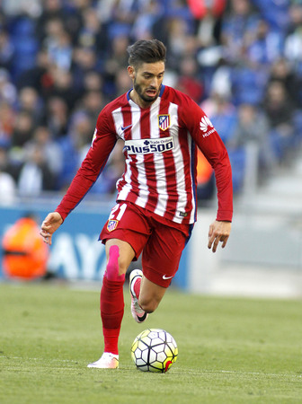 Yannick Ferreira Carrasco of Atletico Madrid  during a Spanish League match against RCD Espanyol at the Power8 stadium on April 9, 2016 in Barcelona, Spain