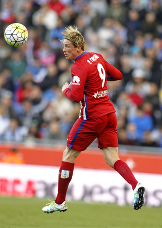 Fernando Torres of Atletico Madrid during a Spanish League match against RCD Espanyol at the Power8 stadium on April 9, 2016 in Barcelona, Spain
