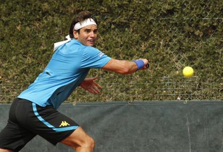 conde: Tunisian tennis player Malek Jaziri in action during a match of Barcelona tennis tournament Conde de Godo on April 20, 2016 in Barcelona Editorial