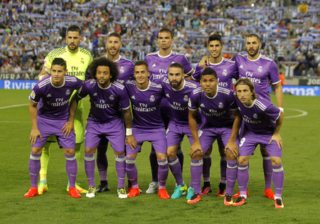 sergio: Real Madrid lineup posing before a Spanish League match against RCD Espanyol at the RCDE Stadium on September 18 2016 in Barcelona Spain