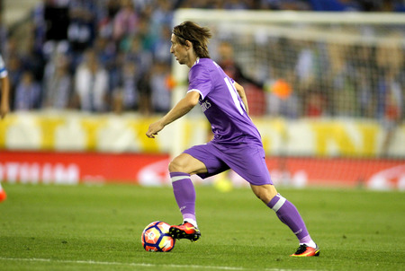 Luka Modric of Real Madrid during a Spanish League match against RCD Espanyol at the RCDE Stadium on September 18 2016 in Barcelona Spain Editorial