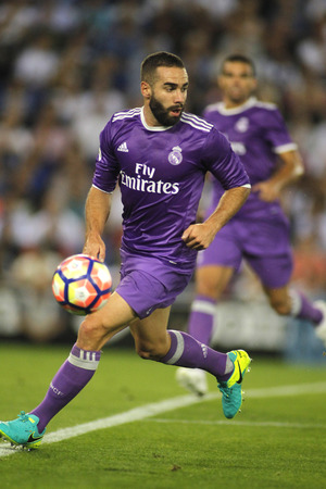 dani: Dani Carvajal of Real Madrid during a Spanish League match against RCD Espanyol at the RCDE Stadium on September 18 2016 in Barcelona Spain