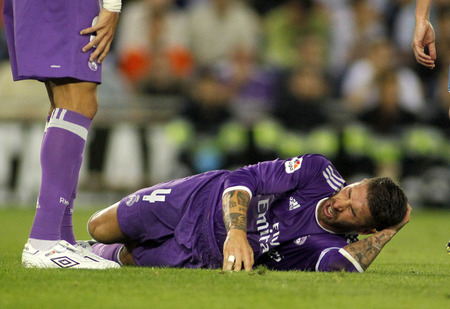 sergio: Sergio Ramos of Real Madrid during a Spanish League match against RCD Espanyol at the RCDE Stadium on September 18 2016 in Barcelona Spain