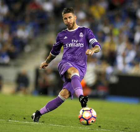 futbol: Sergio Ramos of Real Madrid before a Spanish League match against RCD Espanyol at the RCDE Stadium on September 18 2016 in Barcelona Spain