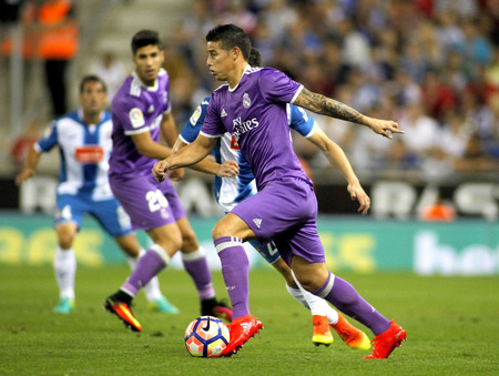 James Rodriguez of Real Madrid of during a Spanish League match against RCD Espanyol at the  RCDE Stadium on September 18 2016 in Barcelona Spain