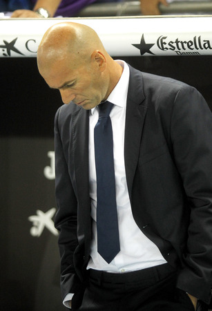 unsatisfied: Real Madrid manager Zinedine Zidane before a Spanish League match against RCD Espanyol at the RCDE Stadium on September 18 2016 in Barcelona Spain