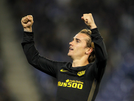 Antoine Griezmann of Atletico de Madrid celebrates goal  during a Spanish League match against RCD Espanyol at the RCDE Stadium on May 6 2017 in Barcelona Spain
