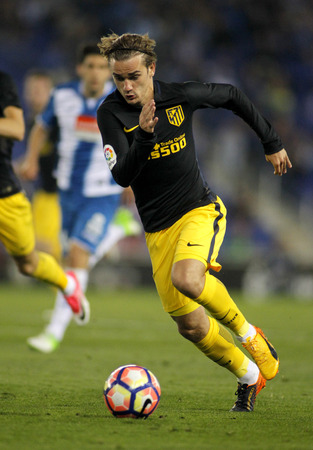 Antoine Griezmann of Atletico de Madrid during a Spanish League match against RCD Espanyol at the RCDE Stadium on May 6 2017 in Barcelona Spain