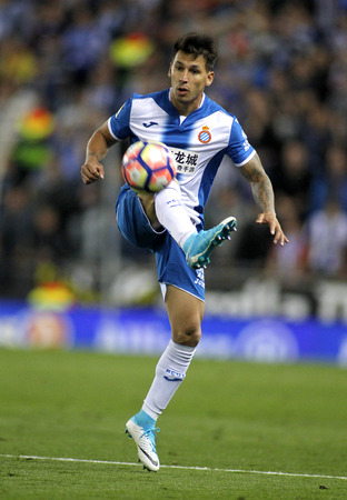 futbol infantil: Hernan Perez of RCD Espanyol during a Spanish League match against FC Barcelona at the RCDE Stadium on April 29 2017, in Barcelona Spain Editorial