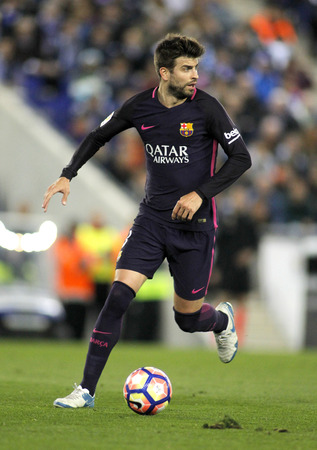 Gerard Pique of FC Barcelona during a Spanish League match against RCD Espanyol at the RCDE Stadium on April 29 2017, in Barcelona Spain
