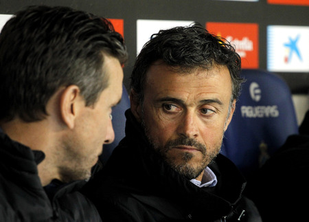 Luis Enrique Martinez(R) manager of FC Barcelona  during a Spanish League match against RCD Espanyol at the RCDE Stadium on April 29 2017, in Barcelona Spain