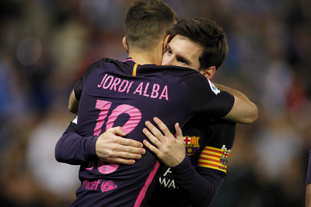 mesi: Messi and Jordi Alba of FC Barcelona celebrating goal during a Spanish League match against RCD Espanyol at the RCDE Stadium on April 29 2017, in Barcelona Spain