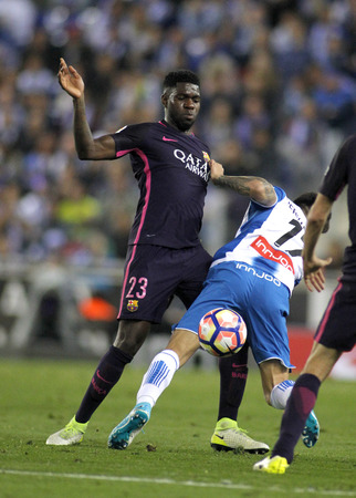 Samuel Umtiti of FC Barcelona during a Spanish League match against RCD Espanyol at the RCDE Stadium on April 29 2017, in Barcelona Spain Editorial