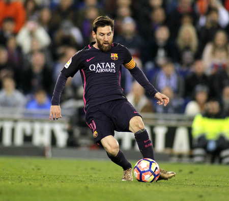 mesi: Leo Messi of FC Barcelona during a Spanish League match against RCD Espanyol at the RCDE Stadium on April 29 2017, in Barcelona Spain