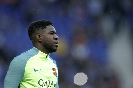 cameroonian: Samuel Umtiti of FC Barcelona before a Spanish League match against RCD Espanyol at the RCDE Stadium on April 29 2017, in Barcelona Spain