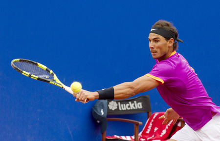 Spanish tennis player Rafael Nadal in action during a match of Barcelona tennis tournament Conde de Godo on April 27, 2017 in Barcelona Spain