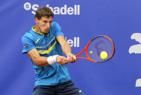 conde: Spanish tennis player Pablo Carreno Busta in action during a match of Barcelona tennis tournament Conde de Godo on April 27, 2017 in Barcelona Spain Editorial