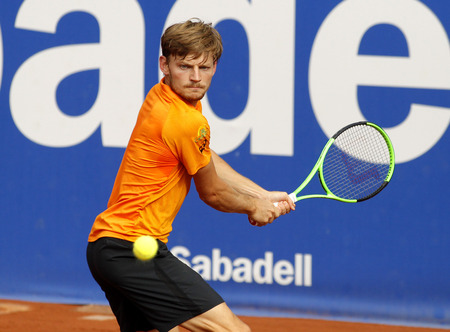 game drive: Belgian tennis player David Goffin in action during a match of Barcelona tennis tournament Conde de Godo on April 27, 2017 in Barcelona Spain
