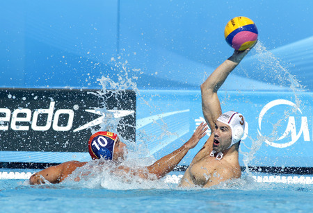 Felipe Perrone(L) of Spain and Zivko Gocic(R) of Serbia during a match of World Championship BCN2013 at the Picornell Swimming pool on August 1, 2013 in Barcelona Spain Editorial