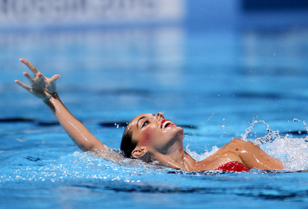 Ona Carbonell of Spain in action during a Duet  Synchronised Swimming event of World Championship BCN2013 at the Picornell Swimming pool on July 13, 2013 in Barcelona Spain Editorial