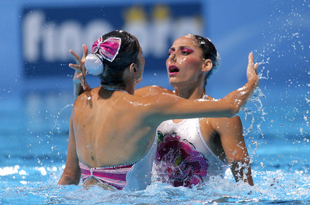 Isabel Delgado and Nuria Diosdado of Mexico during a Duet Synchronised Swimming event of World Championship BCN2013 on July 13, 2013 in Barcelona Spain