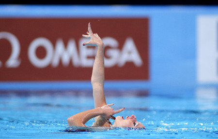 Estel Anais Hubaud of France during a Solo Synchronised Swimming event of World Championship BCN2013 on July 24, 2013 in Barcelona Spain