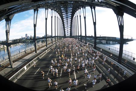 sydney harbour bridge: Marathon runners cross the Sydney Harbour bridge during the race.