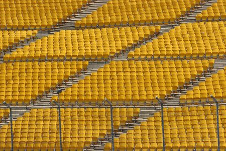 raceway: Empty seats in the grandstand of a raceway. Stock Photo