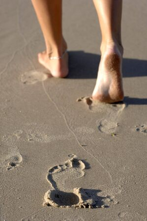 Foot prints in the sand leaving only memories photo