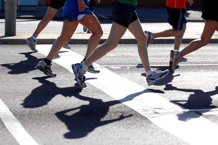 Groups of marathon runners in action Stock Photo - 2032030