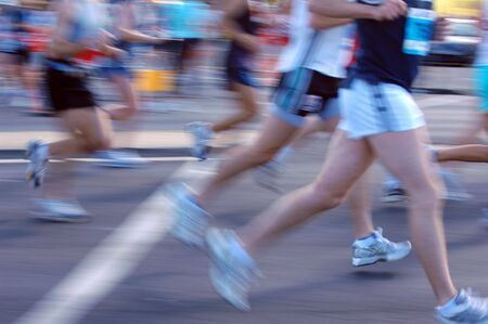 Groups of marathon runners in action Stock Photo - 2032020