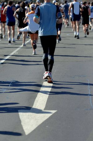 Groups of marathon runners in action Stock Photo - 2032026