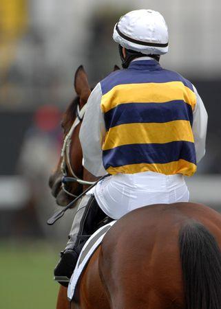 jockey: A jockey heads out to the starting gates