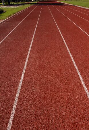 An empty suburban athletics track ready for racing Stock Photo - 5490595