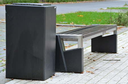Bench and trash