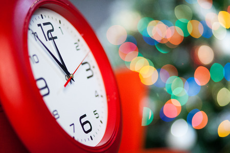 12 month old: Red Christmas hours on a bright background. Stock Photo