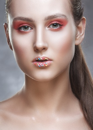 fantasy makeup: Fashion-portrait of the young girl with a fantasy make-up.
