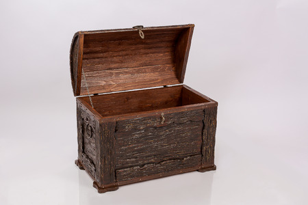 Wooden chest for clothes and things. Retro style. Dowry.