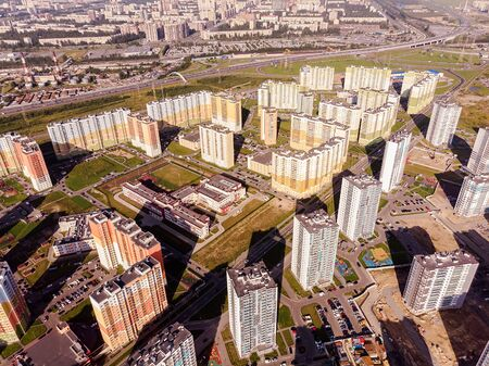 New residential area on the outskirts of St. Petersburg. Panorama from the high.