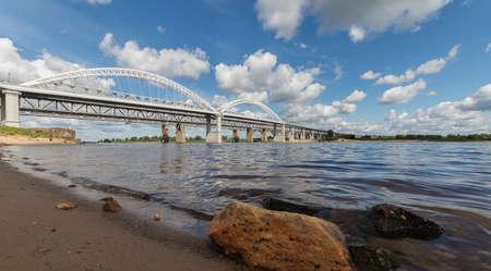 Urban landscape with a view of the bridge over the Volga river in Nizhny Novgorod, Russia.