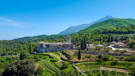 Holy Monastery Hilandar landscape HDR, Mount Athos
